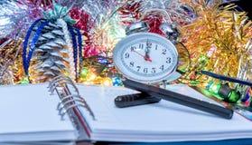 Pióro na nowego roku ` s dzienniczku Zdjęcie Royalty Free