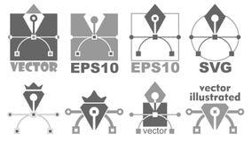 Pióro narzędziowa ikona Bezier krzywa, graficznego projekta symbol Fotografia Royalty Free