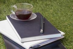 Pióro, notatnik, pastylka i szkło herbata na gazonie, zdjęcia royalty free