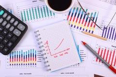 Pióro, szkła, kalkulator i filiżanka kawy na pieniężnym wykresie, biznesowy pojęcie zdjęcia stock
