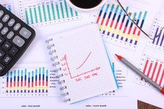 Pióro, szkła, kalkulator i filiżanka kawy na pieniężnym wykresie, biznesowy pojęcie zdjęcie stock