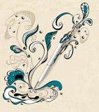 Pióro z abstrakcjonistycznym rysunkiem na grunge beżu backgrou Obraz Royalty Free