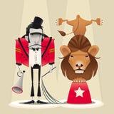Più addomesticato di leone con il leone. Immagini Stock Libere da Diritti