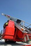Piattaforma di un camion dei vigili del fuoco durante la sessione di pratica nel Fireho Immagine Stock