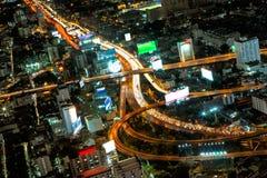 Più alta vista aerea di paesaggio urbano della strada principale di Bangkok Fotografia Stock