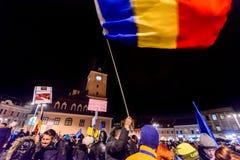 2017 - Più grande protesta anticorruzione dei rumeni nelle decadi Immagini Stock Libere da Diritti