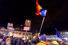 2017 - Più grande protesta anticorruzione dei rumeni nelle decadi Immagine Stock Libera da Diritti