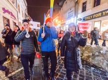 2017 - Più grande protesta anticorruzione dei rumeni nelle decadi Fotografia Stock Libera da Diritti