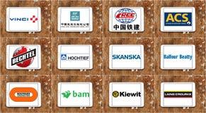 Più grandi logos ed icone superiori delle società di costruzioni Fotografie Stock