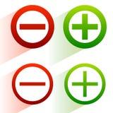 Più, segni meno Aggiunta, icone di sottrazione, simboli con il diametro illustrazione vettoriale