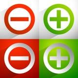 Più, segni meno Aggiunta, icone di sottrazione, simboli con il diametro royalty illustrazione gratis
