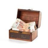 Più soldi russi nelle rubli del petto Fotografia Stock