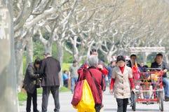 Più vecchia camminata cinese della donna Immagine Stock