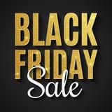 piątek czarny sprzedaż duży rabaty Sieć teksta sztandar Dla twój biznesowego projekta Tekst z złotymi błyskotliwość na ciemnym tl obraz stock