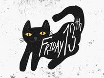 Piątku 13th czarny kot na ciemnej białej grunge tła ilustraci Royalty Ilustracja
