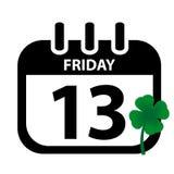 Piątku 13th kalendarz Z Zieloną koniczyną - Czarny Vektor Illustrati Ilustracji
