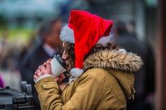 Pić Ciepłego napój jest ubranym Santa nakrętkę Zdjęcie Royalty Free