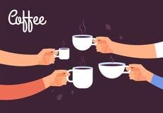 Pić kawowego pojęcie Przyjaciela napoju kawa dla śniadaniowej przerwy w biurze z kawa espresso wektoru pojęciem royalty ilustracja