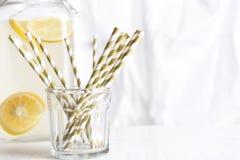 Pić słoma i lemoniada miotacz obraz stock