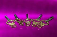 Pięć Antykwarskich Mosiężnych Kieszeniowego zegarka kluczy Kłaść na purpury powierzchni Obraz Stock