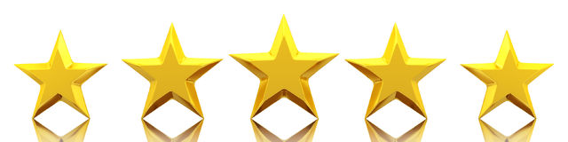 Pięć błyszczących złotych gwiazd Obraz Stock