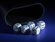 Pięć biel dices i filiżanki lying on the beach na stole fotografia royalty free