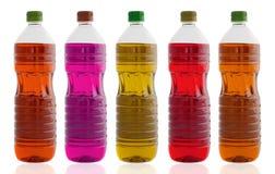 pięć butelek oleju Fotografia Stock