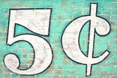 Pięć centów ściana z cegieł Zdjęcia Stock