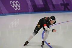 Pięć czasów Olimpijski mistrz Claudia Pechstein Niemcy współzawodniczy w damy ` 5,000m prędkości łyżwiarstwie przy 2018 olimpiada Zdjęcia Royalty Free