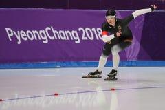 Pięć czasów Olimpijski mistrz Claudia Pechstein Niemcy współzawodniczy w damy ` 5,000m prędkości łyżwiarstwie przy 2018 olimpiada Zdjęcie Royalty Free