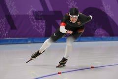 Pięć czasów Olimpijski mistrz Claudia Pechstein Niemcy współzawodniczy w damy ` 5,000m prędkości łyżwiarstwie przy 2018 olimpiada Obraz Stock
