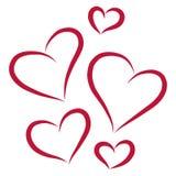 Pięć czerwonych serc, wektorowa ilustracja Obrazy Royalty Free