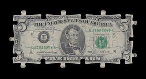 pięć dolarów. Zdjęcia Stock
