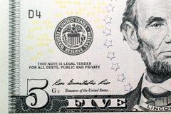 Pięć dolarów banknot Fotografia Royalty Free