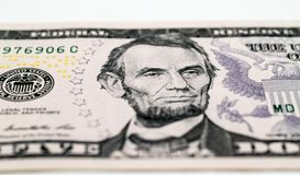 Pięć dolarów banknot Zdjęcia Stock