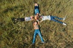 Pięć dzieci kłamają na trawie, mały dziecko siedzą w centrum jego siostry i bracia, jak widzieć z góry obrazy stock