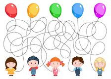 Pięć dziecko chwyta balonów Zdjęcia Stock