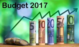 Pięć, dziesięć, dwadzieścia, pięćdziesiąt i sto euro staczających się rachunków bankn, Obrazy Stock
