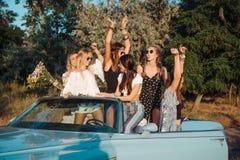 Pięć dziewczyn zabawę w wsi Zdjęcia Stock