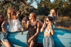 Pięć dziewczyn zabawę w wsi Obrazy Stock
