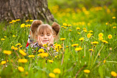 pięć dziewczyny trawa mały łgarski rok Obraz Stock