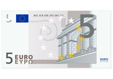 Pięć euro banknot Zdjęcia Royalty Free
