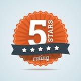 Pięć gwiazd oszacowywać podpisuje wewnątrz mieszkanie styl Zdjęcie Stock