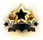 Pięć gwiazd z czarnym faborkiem royalty ilustracja