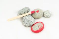 Pięć kamieni Czerwona farba Zdjęcia Stock