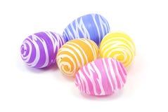 Pięć Easter jajek odizolowywających na białym tle Obrazy Royalty Free