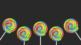Pięć kolorowych lizaków na popielatej tło kopii przestrzeni ilustracji