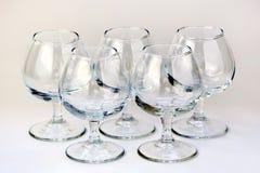 Pięć koniaków szkło Fotografia Royalty Free