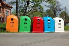 pięć koszy oddzielania odpadów Fotografia Royalty Free