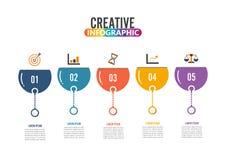 Pięć kroków infographics - może ilustrować strategię, obieg lub drużynową pracę, Zdjęcia Stock